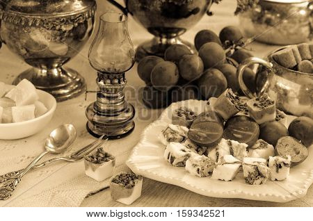 A Festive Table Setting. Image In Vintage Style. Sepia.