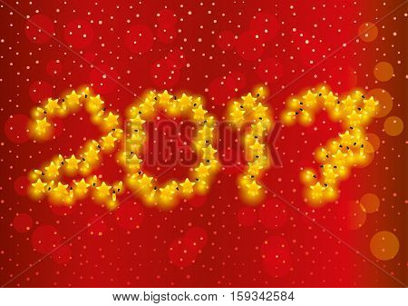 New Year garlands on a red background.