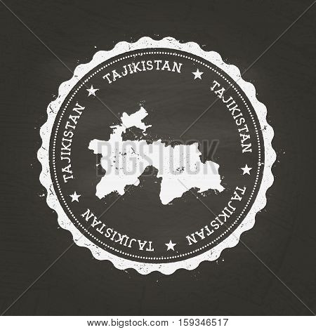 White Chalk Texture Rubber Stamp With Republic Of Tajikistan Map On A School Blackboard. Grunge Rubb