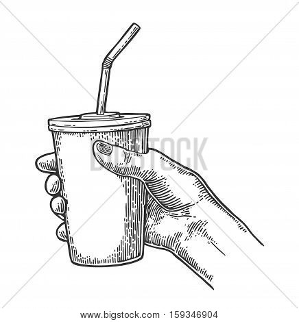 Female hand holding a disposable paper cup cola with straws and cap. Isolated on white background. Vector black engraving illustration for poster menus web banner icon