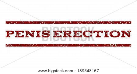 Penis Erection watermark stamp. Text caption between horizontal parallel lines with grunge design style. Rubber seal dark red stamp with unclean texture. Vector ink imprint on a white background.