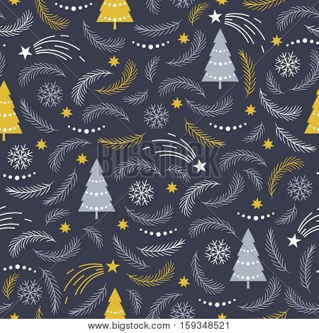 seamless Christmas pattern with pine branches and trees