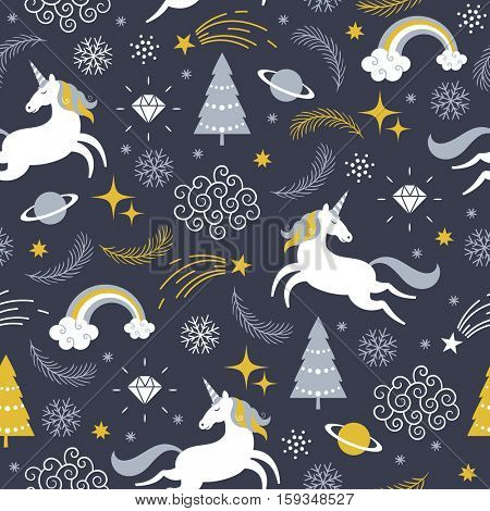 Christmas seamless  illustration with unicorn, merry christmas theme