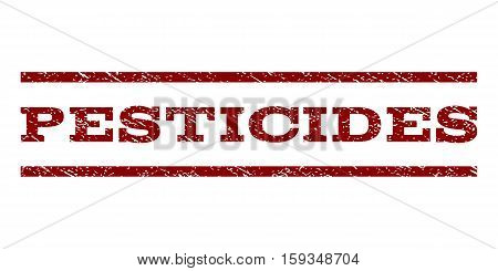 Pesticides watermark stamp. Text tag between horizontal parallel lines with grunge design style. Rubber seal dark red stamp with unclean texture. Vector ink imprint on a white background. poster