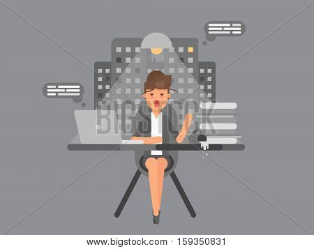 Business woman sitting and working all night on a laptop computer at her office with pilled coffee and fell asleep