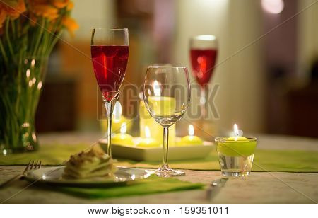 Delicious starter served with cocktail. Romantic dinner concept