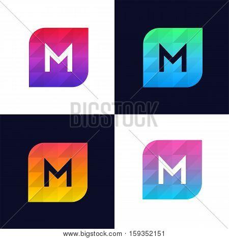 M letter logo icon mosaic polygonal colorful shape element. Creative company sign vector design