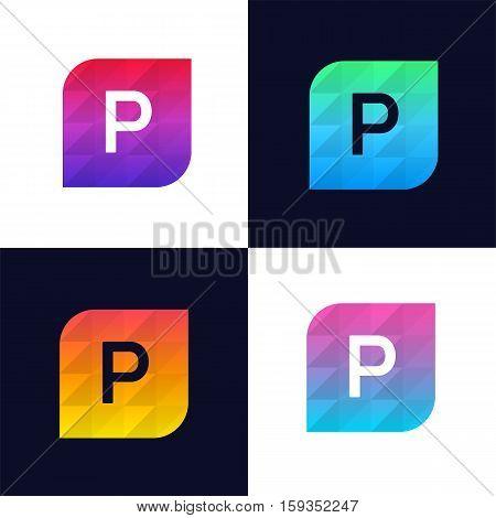 P letter logo icon mosaic polygonal colorful shape element. Creative company sign vector design
