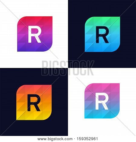 R letter logo icon mosaic polygonal colorful shape element. Creative company sign vector design