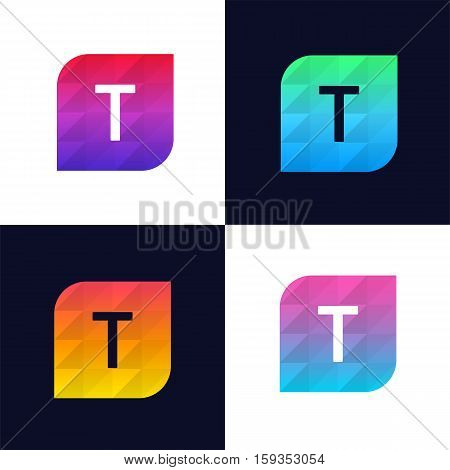 T letter logo icon mosaic polygonal colorful shape element. Creative company sign vector design
