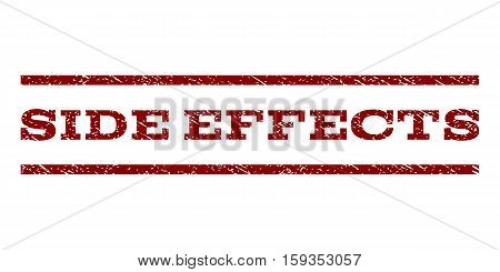 Side Effects watermark stamp. Text caption between horizontal parallel lines with grunge design style. Rubber seal dark red stamp with dust texture. Vector ink imprint on a white background.