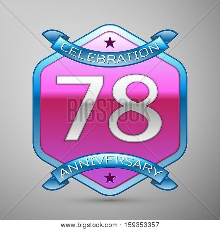 Seventy eight years anniversary celebration silver logo with blue ribbon and purple hexagonal ornament on grey background.