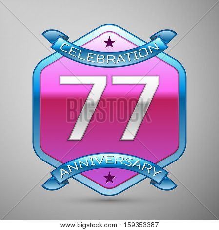 Seventy seven years anniversary celebration silver logo with blue ribbon and purple hexagonal ornament on grey background.
