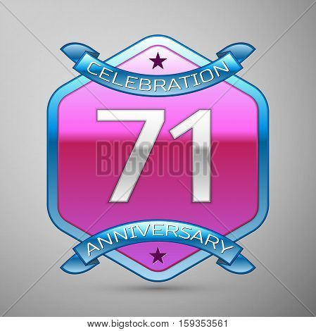 Seventy one years anniversary celebration silver logo with blue ribbon and purple hexagonal ornament on grey background.