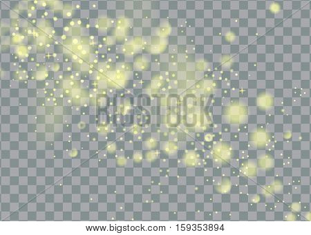 glittering star dust trail sparkling particles on transparent background. Space comet tail. Vector glamour fashion illustration.