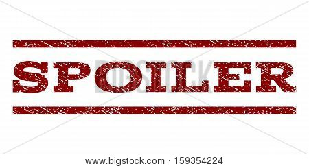 Spoiler watermark stamp. Text caption between horizontal parallel lines with grunge design style. Rubber seal dark red stamp with unclean texture. Vector ink imprint on a white background.
