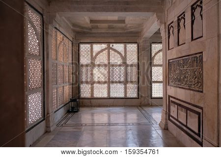 FATEHPUR SIKRI, INDIA - FEBRUARY 15 : Intricate window artwork in the tomb of Salim Chishti at Fatehpur Sikri complex, Uttar Pradesh, India on February 15, 2016.