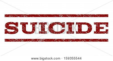 Suicide watermark stamp. Text caption between horizontal parallel lines with grunge design style. Rubber seal dark red stamp with dirty texture. Vector ink imprint on a white background.