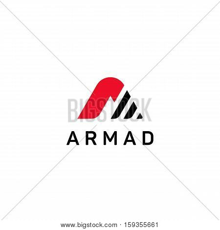 Abstract company A letter sign vector icon logo design