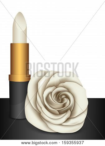 White Lipstick & White Rose. Vector illustration.