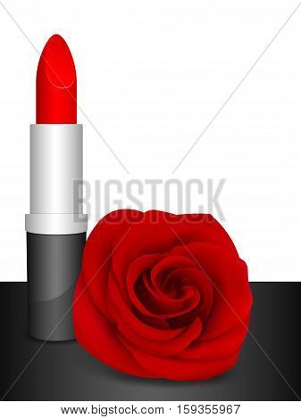 Red lipstick & red rose. Vector illustration.