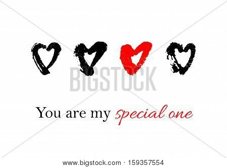 Vector hand drawn ink illustration with hearts. Greeting card with You are my special one text. Doodles.
