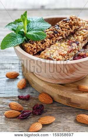 Bars Of Cereals, Nuts, Dried Fruits And Honey.