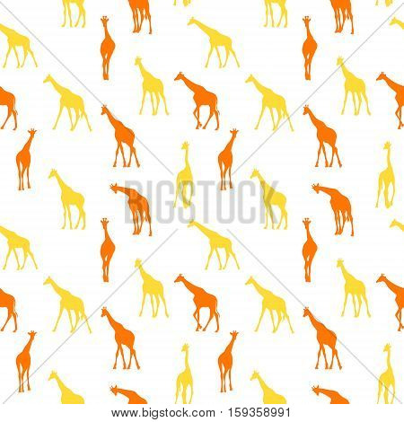 Vector seamless pattern with giraffes. Colorful pattern african animals seamless.