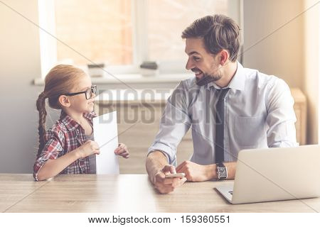 Handsome Businessman And His Daughter