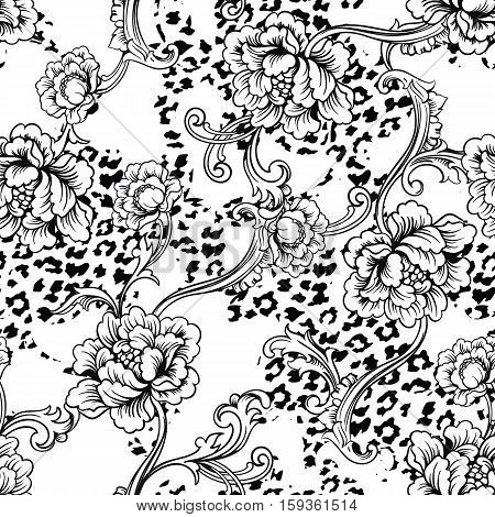 Eclectic fabric seamless pattern. Animal background with baroque ornament. Vector illustration