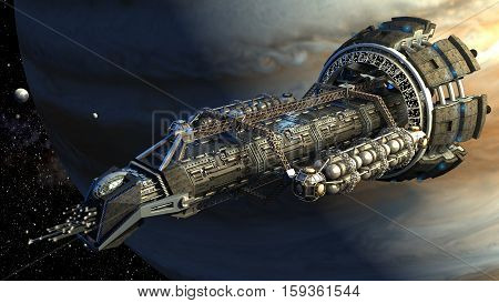 3d rendering of a spaceship flying next to Jupiter, for futuristic deep space travel, scientific research or science fiction backgrounds.