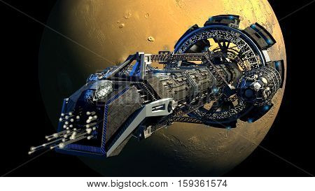 3d rendering of a spaceship flying next to Mars, for futuristic deep space travel, scientific research or science fiction backgrounds.