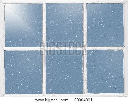weathered wood windowpane with snowflakes and light shine
