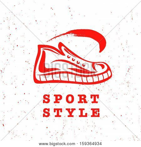 Vector flat sport shoe brand mark logo, symbol design. Sport footwear sign, icon illustration. Flat, retro, vintage style.