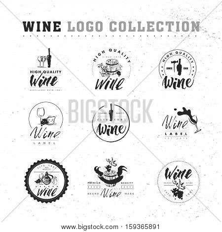 Vector collection of artistic hand drawn wine logo isolated on white background. Ink drawing. Alcohol company brand mark design emblem.