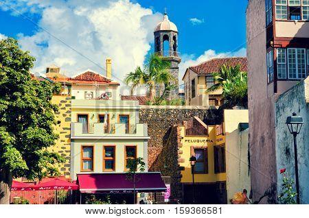 La Orotava Tenerife Spain- November 6 2016: City street in La Orotava traditional houses cafe and church. Historical center and architecture of La Orotava. Tenerife Canary islands Spain
