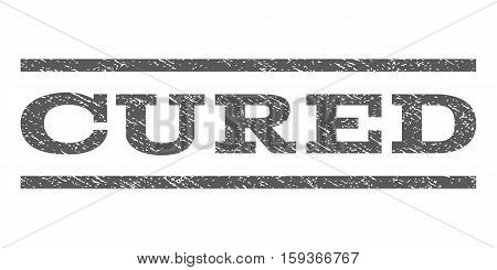 Cured watermark stamp. Text caption between horizontal parallel lines with grunge design style. Rubber seal grey stamp with unclean texture. Vector ink imprint on a white background.