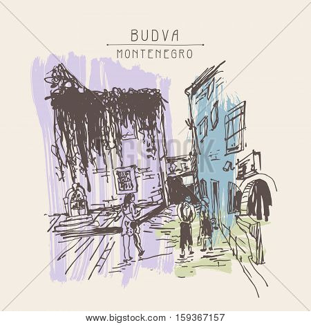 sketching of historic building with clambering plant and people walking in old town Budva Montenegro, vintage touristic postcard, travel vector illustration