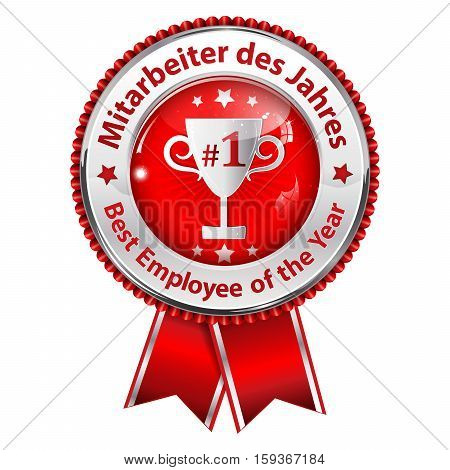 Employee of the Year in English and German language (Mitarbeiter des Jahres) - shiny  metallic red award ribbon
