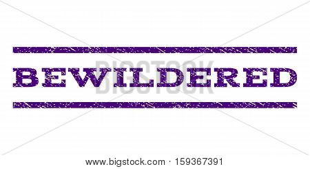Bewildered watermark stamp. Text caption between horizontal parallel lines with grunge design style. Rubber seal indigo blue stamp with dust texture. Vector ink imprint on a white background.