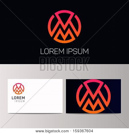 M Letter Icon Sign In Circle Vector Emblem. Company Logo Design