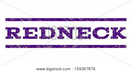 Redneck watermark stamp. Text caption between horizontal parallel lines with grunge design style. Rubber seal indigo blue stamp with dirty texture. Vector ink imprint on a white background.