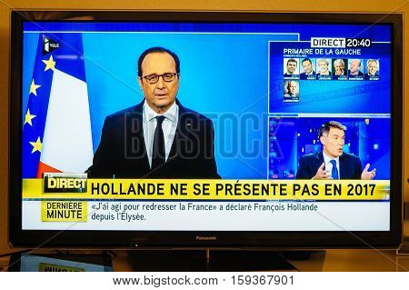 PARIS FRANCE - DEC 1 2016: Francois Hollande at French Television address to the Nation that he will not seek re-election as president of France