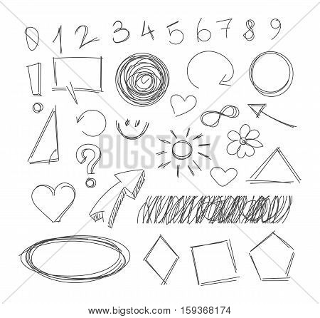 Freehand drawing scribble items. Pencil drawing. Isolated on white background. Vector illustration. Set