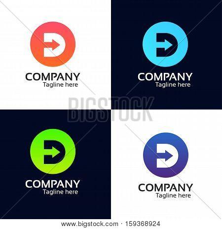 D Letter Round Icon Company Logo Sign Vector Design