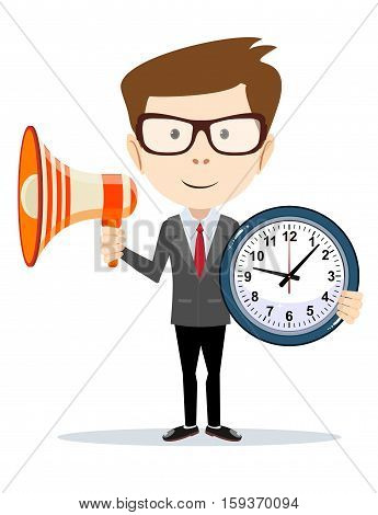 Abstract Businessman with a loudspeaker Megaphone and wall clocks. Vector illustration