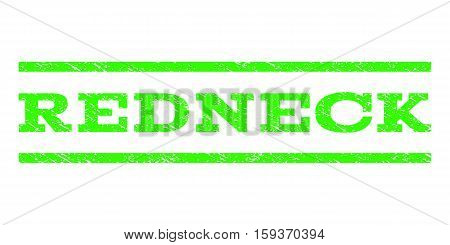 Redneck watermark stamp. Text tag between horizontal parallel lines with grunge design style. Rubber seal light green stamp with dust texture. Vector ink imprint on a white background.