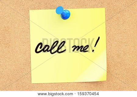 Call me! Text on a sticky note pinned to a corkboard. 3D rendering