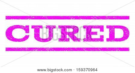 Cured watermark stamp. Text tag between horizontal parallel lines with grunge design style. Rubber seal magenta stamp with scratched texture. Vector ink imprint on a white background.