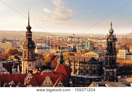 Panorama of the city skyline at sunset in Dresden Saxony Germany Europe.